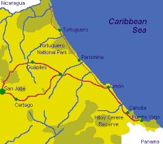 Map of Caribbean Coast of Costa Rica