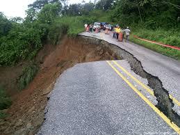 Roads damaged by landslide in Costa Rica