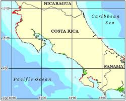 Map of Costa Rica's shorelines