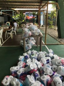 Packages of supplies for the Playa Hermosa food drive
