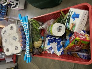 Basket of groceries at Super Luperon in Costa Rica