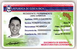 Sample of a DIMEX card or Cedula in Costa Rica
