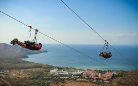 People zip lining in Costa Rica