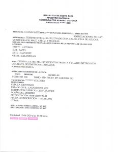 Costa Rica property registry report