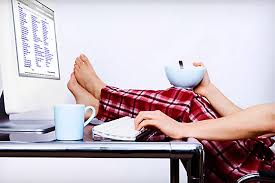 person working from home in their pijamas