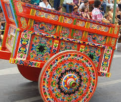 Brightly painted Costa Rican Oxcart
