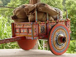 Oxcart loaded with coffee in Costa Rica
