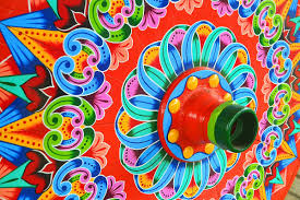 Closeup of a painted oxcart wheel in Costa Rica