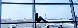 Person sitting in SJO airport