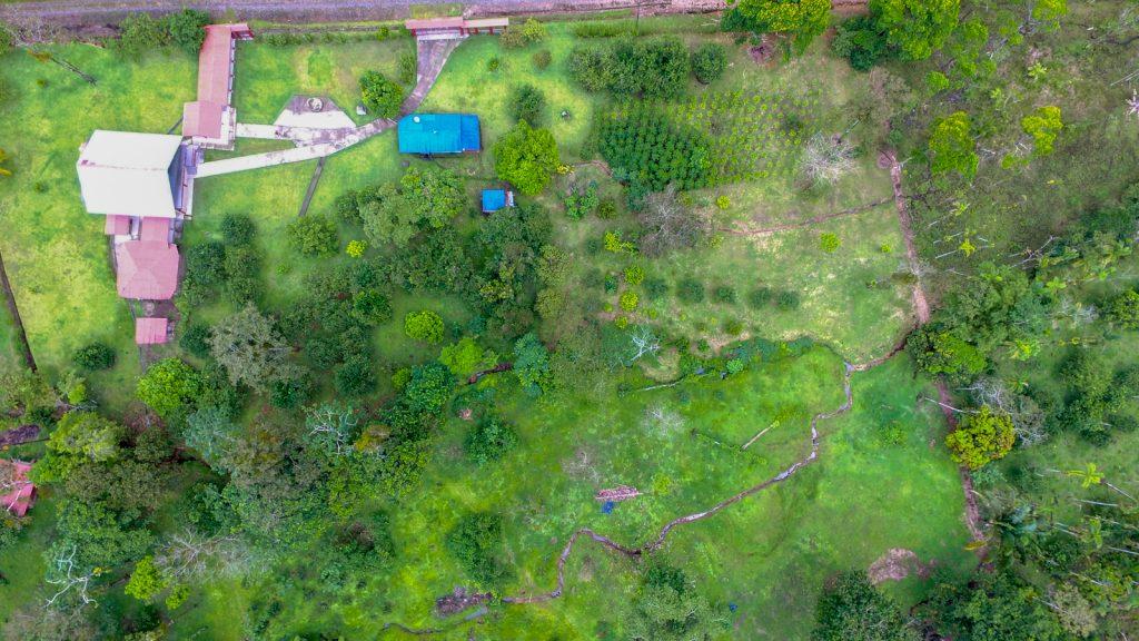 Aerial view of a Costa Rica farm near Playa Hermosa