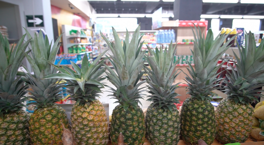 Pineapples for sale in Luperon supermarket