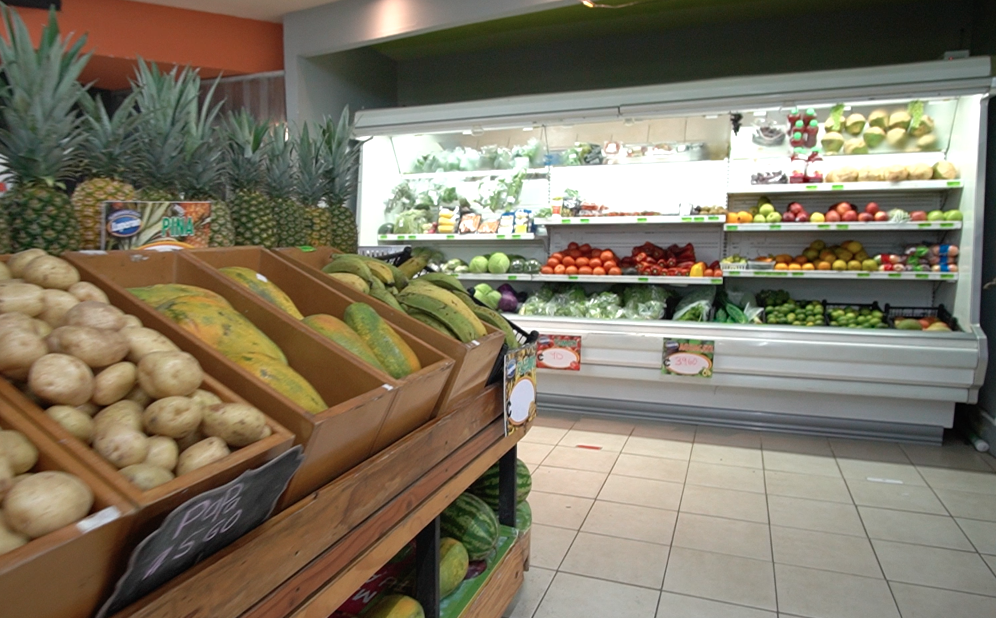 Fruit and vegetable area of Luperon supermarket in Playa Hermosa